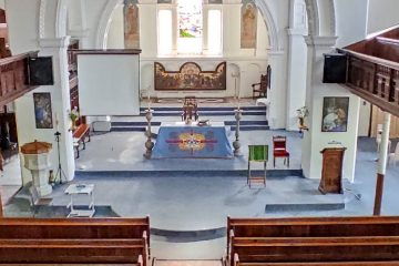 View down from the balcony in St James church